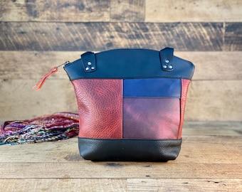 Multi-Coloured Curved Top Zippered Tote   Kodiak Leather
