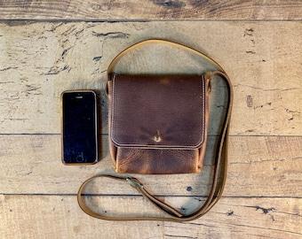 Tiny Leather Crossbody   Brown, Blue, Red, Black or Purple Kodiak Leather