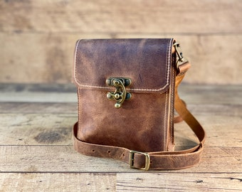 Tiny Crossbody with Swing Clasp   Crazy Horse Water Buffalo Leather