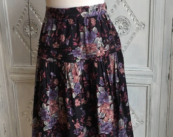 Vintage Laura Ashley Skirt - 1980s Dark Florals Size 10 - Boho/Geek