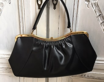 691deeb0b85c Vintage Bag by K Handbags Black Kelly 1960s 70s
