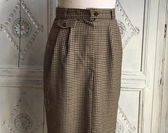59a025031dd4f Vintage St. Michael Skirt Country Dogtooth Wiggle Rockabilly Secretary  1950s 1980s Size UK 8