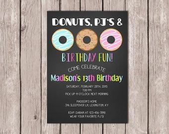 DIY PRINTABLE Donuts Pajamas Birthday Invitation Sleepover Sweet Girls 13th Invite 5x7 JPG