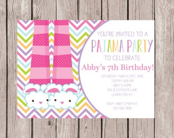 Diy Printable Birthday Sleep Over Invite Slumber Party Etsy