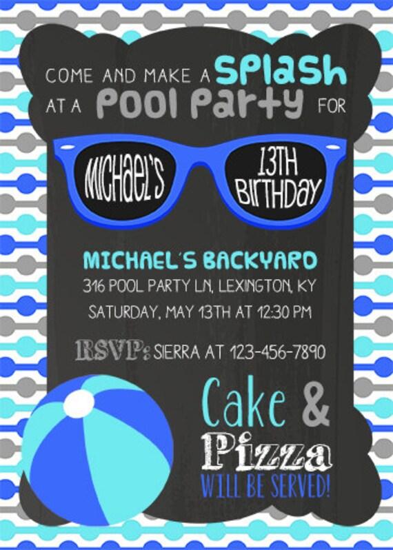 DIY PRINTABLE Pool Party Invitation Birthday