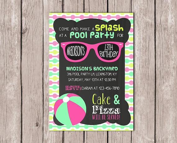 DIY PRINTABLE Pool Party Invitation Birthday Invite Summer
