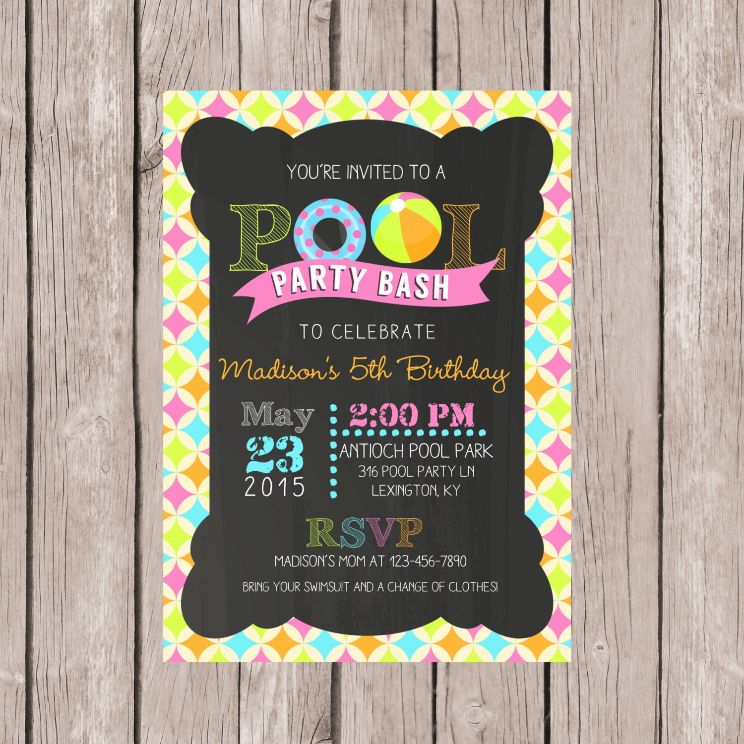 DIY PRINTABLE Pool Party Invitation Birthday Pool Party