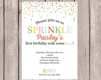 PRINTABLE- Sprinkle Birthday Invite- Birthday Party Invite- Birthday Invite- Birthday Invitation- First Birthday Invite- 5x7JPG