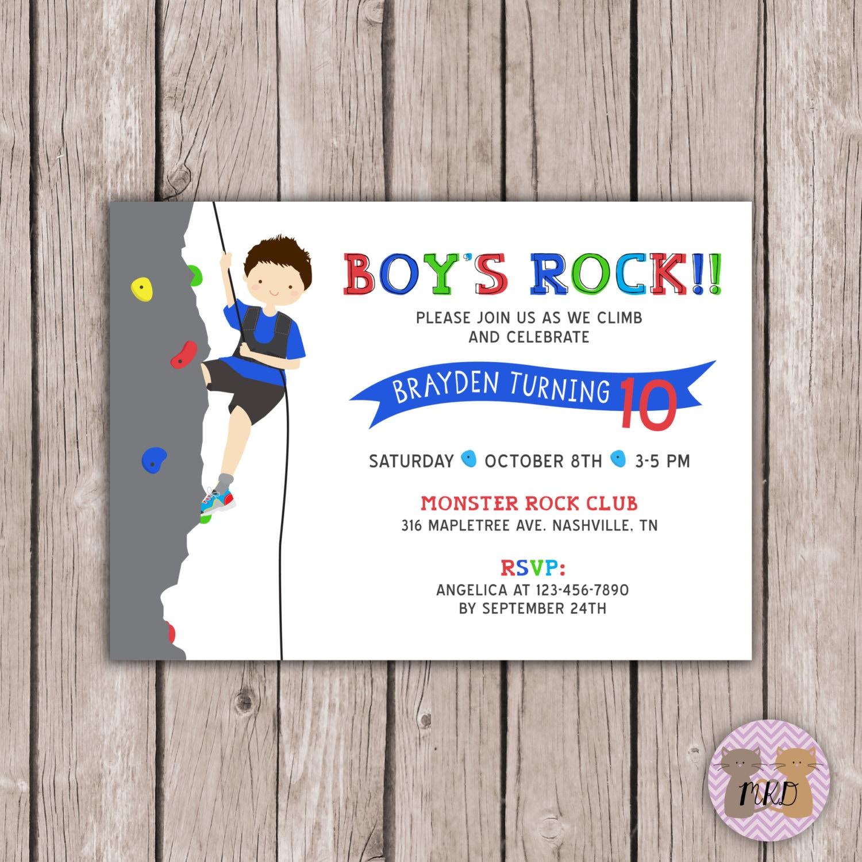 DIY PRINTABLE Boy Rock Climbing Birthday Invite Rock | Etsy