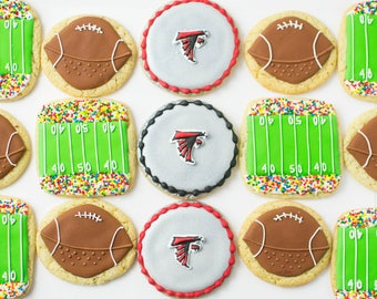 Football Sugar Cookies, 1 Dozen, Super Bowl Party, Football tailgate, stadium cookies, football logo cookies