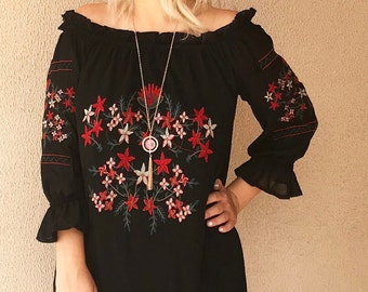 Handmade Embroidered Frill Bardot Dress / Top