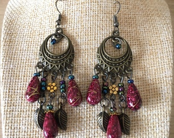 Peacock Earrings Inspired Vintage Style Drop Alloy Peacock Dark Deep Pink Tone Bronze Earrings Womens Jewellery AU
