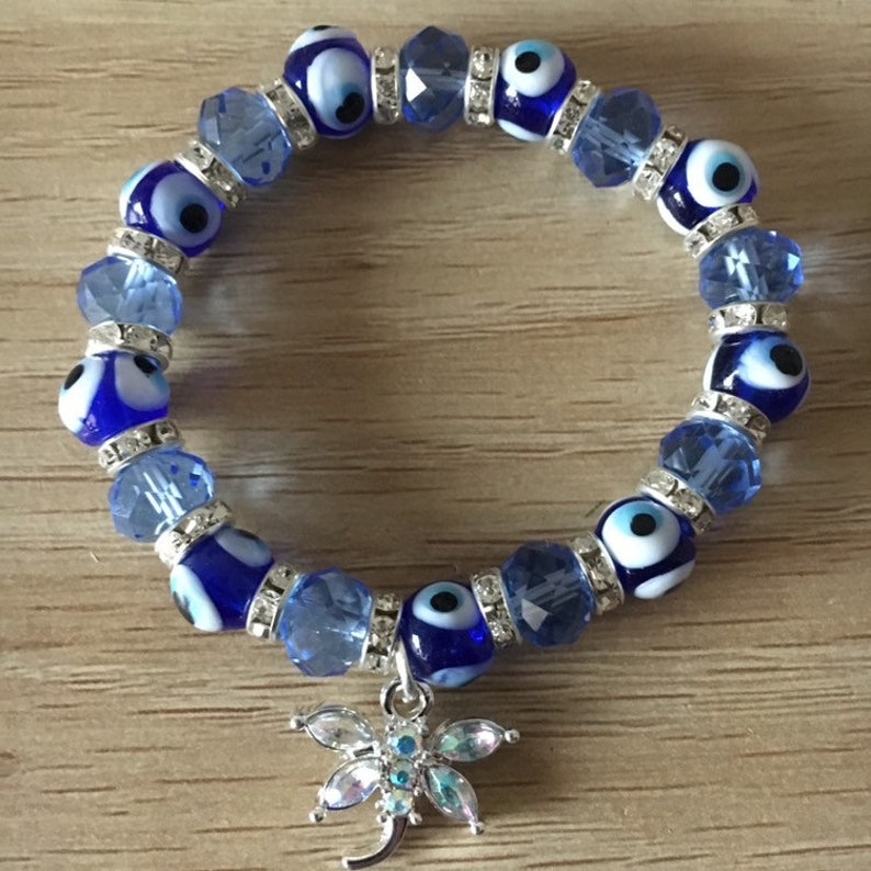 Butterfly Evil Eye Crystal Stretch Bracelet Bicone Glass Crystals in Blue in Color Womens Fashion Bracelet Bangle Elastic bracelet Jewelry A