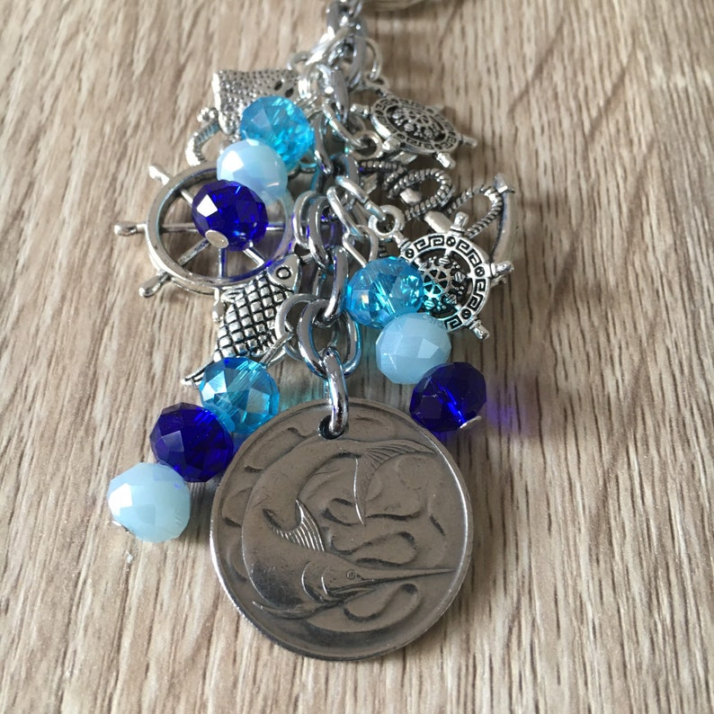 Marlin Coin Keychain Swordfish Coin Pendant Charm Keyring Sea Nautical Keychain  Key ring Coin 1967 Jewelry Bag Accessory