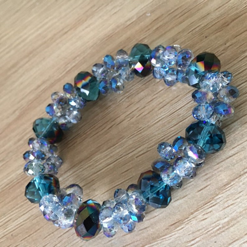 Crystal Stretch Bracelet Bicone Glass Crystals in Blue Brown Color Womens Fashion Bracelet Bangle Elastic Jewelry