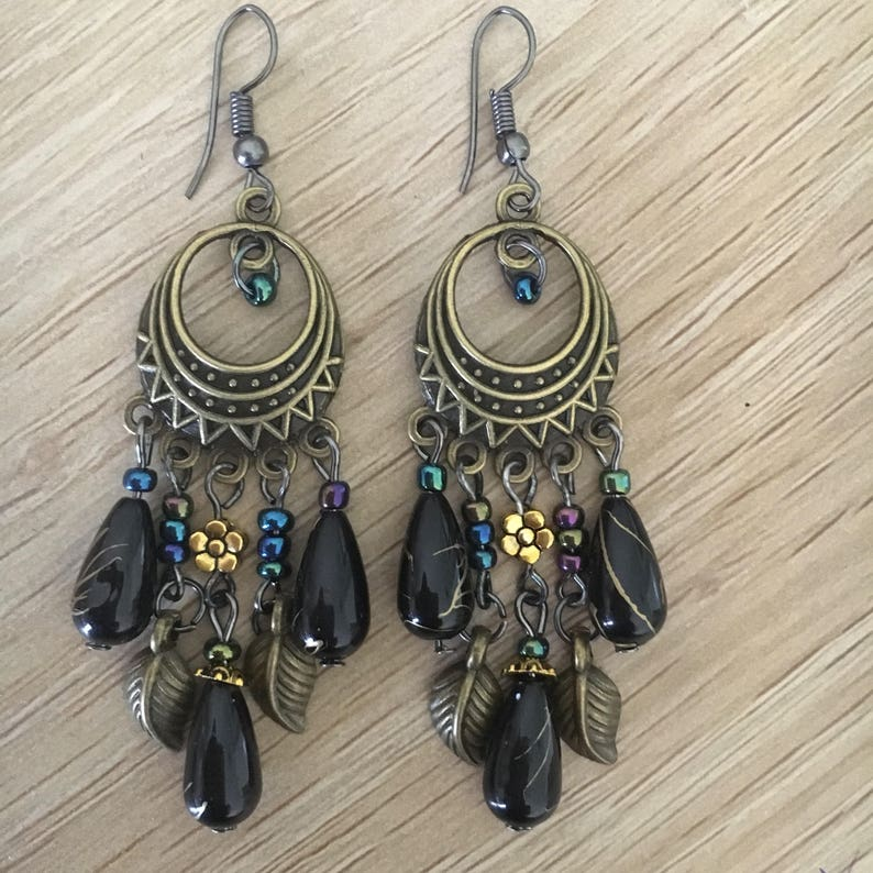 Peacock Earrings Inspired Vintage Style Drop Alloy Peacock Black Tone Bronze Earrings Womens Jewellery AU