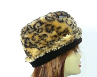 Vintage Faux Fur Hat Leopard Print Cap   90s do 60s mod womens clothing  accessories winter warm weather fuzzy fake fur animal patterned hat 65e1e8ed3582