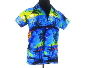 764d50f3 Vintage Hawaiian Blouse Shirt - Small / 90s travel tourist womens terivoile  light airy button up front vacation tropical palm tree pattern