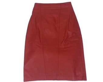 9441ac2ff3 Red Leather Skirt - Size Small / pencil cut high waisted vintage 80s womens  clothing Wilsons Leather party rocker clubbing evening cocktail