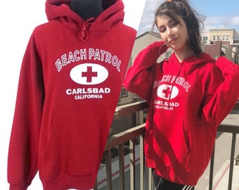 23ebe4ddc12ba2 California Lifeguard Sweater - Large   hoodie vintage 90s beach pullover hooded  sweatshirt retro tourist top red and white Carlsbad warm top