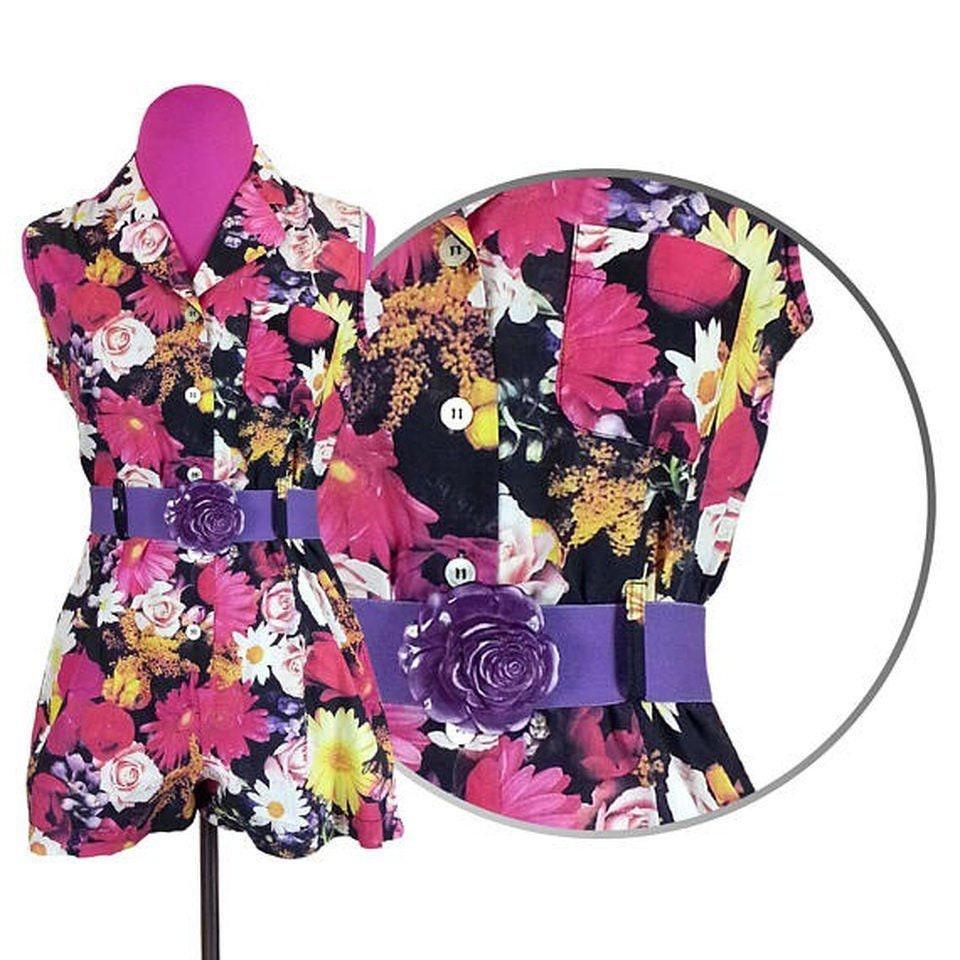 c82ff43e062cc Floral Shorts Romper Size Large   vintage 80s 90s button up