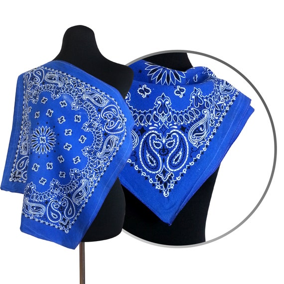 23261add48 Blue Bandana paisley print patterned punk rockabilly retro vintage 80s 90s  worn look retro vtg bandana square scarf white pattern paisley