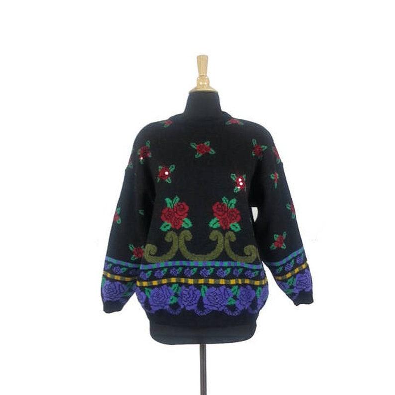 eeb742aabb90e Rose Pattern Sweater Size Medium   vintage 80s 90s womens