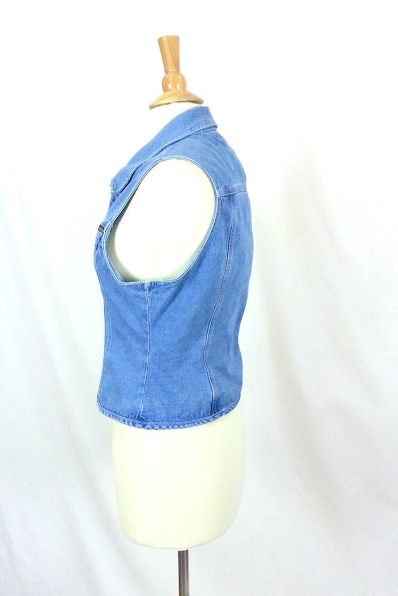 Medium Jeans Vest  vintage 90s womens clothing 100/% cotton denim button up front sleeveless zippered pockets grunge punk tops collared top