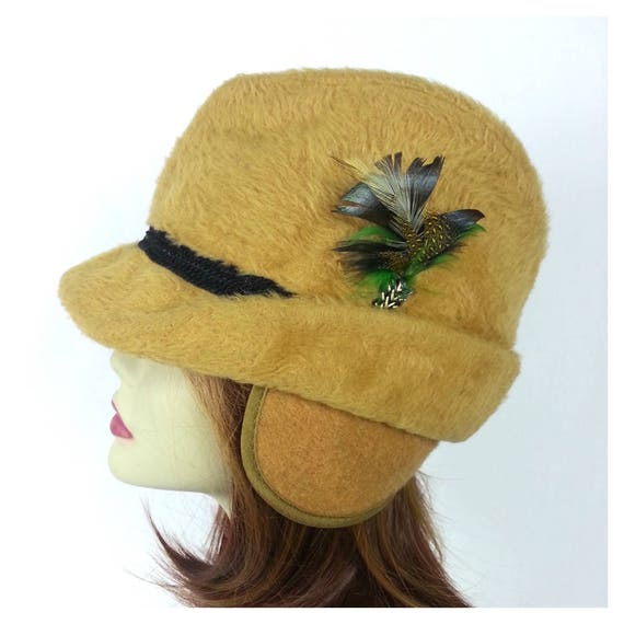 Yellow Faux Fur Fedora Hat Cap   vintage 60s mens hats short  9c5b79e250d9