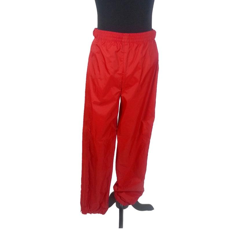 45e574362f30c 80s Ski Pants Medium   red nylon zippers elastic waist