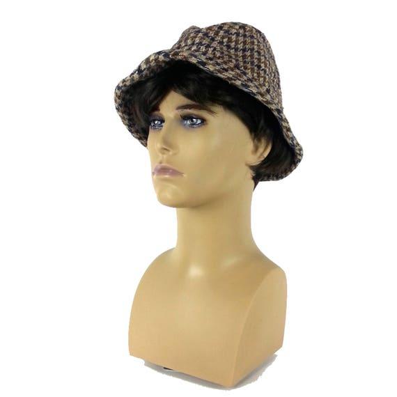 Plaid Mens Fedora Hat - Small / tweed fedora gray… - image 2