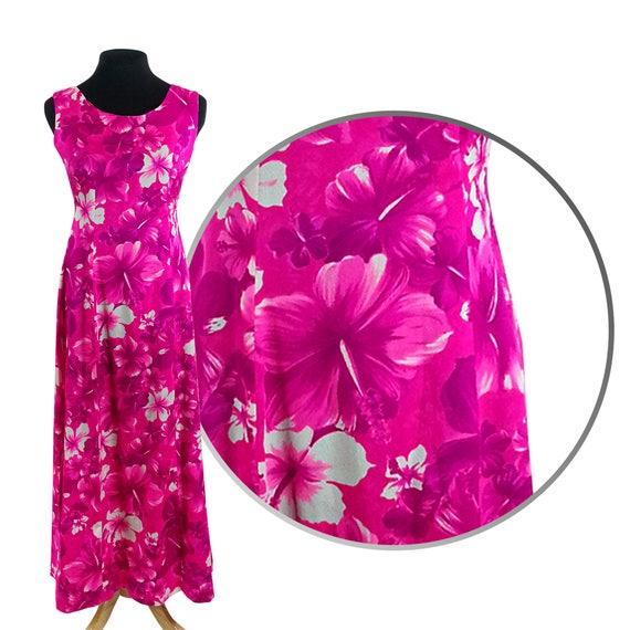 9e8cd3cd6027 Pink Hawaiian Maxi Dress Size Medium   tropical flowers with