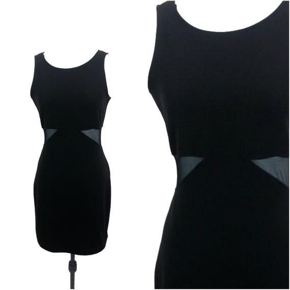 Small Black Mesh Cutout Dress Mesh Panels Sheer Mesh Etsy