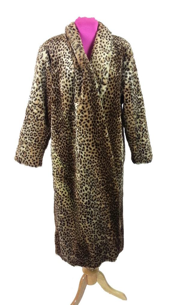 Faux Fur Leopard Coat - Medium / maxi winter coat