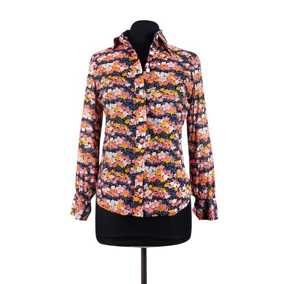 Floral Blouse Medium / long sleeves 70s 80s vintag