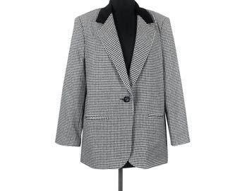 Black and White Houndstooth Blazer - Size 12 / large 1 button front suit jacket womens clothing vintage 80s classic petite wool blend cotton