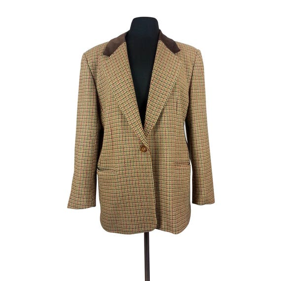 Large Womens Blazer Brown Plaid Glencheck Glen Checked One Etsy