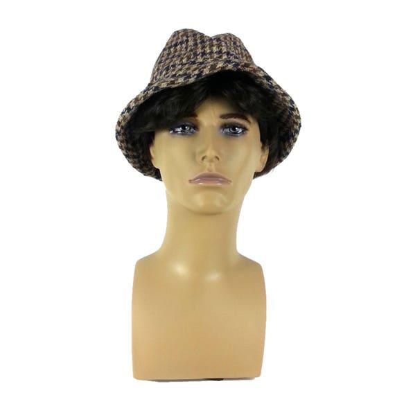Plaid Mens Fedora Hat - Small / tweed fedora gray… - image 5