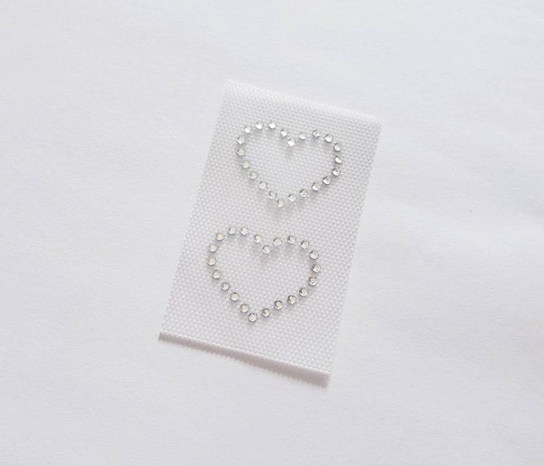 Set of Two Hearts Rhinestone Appliqu\u00e9 Love Rhinestone Heart Outlines Crystal Heart Appliqu\u00e9s DIY Iron-on Heart Patch Wedding Bling