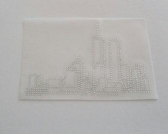 New York City Skyline Appliqué, NYC Bling, NYC Skyline Rhinestone Iron on, NYC Skyline Transfer, New York Twin Towers Skyline