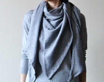 Cotton jersey shawl wrap Grey shawl for women Sustainable gifts for women
