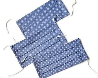 Blue face mask Printed face mask Washable face mask Face mask with ties Unisex face mask