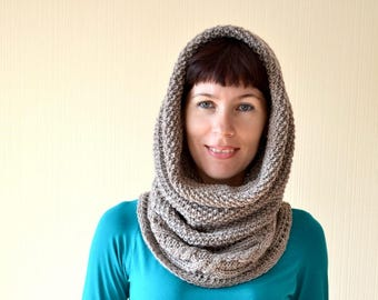 Knit neck scarf Winter Hooded scarf Knit cowl Birthday gift for wife