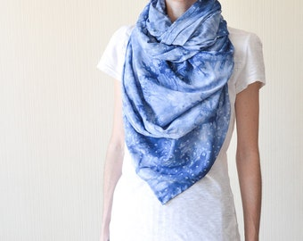 galaxy scarf space scarf blue scarf science gift celestial scarf long scarf cotton scarf birthday gifts wife gift geek gift boho scarf