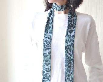 skinny scarf neck scarf girlfriend gift boho scarf long scarf green scarf chiffon scarf womens gift narrow scarf leopard scarf print scarf