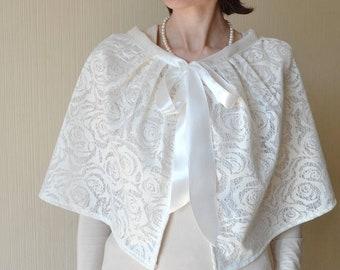 Bridal cover up Bridal cape women Shrug Bridal wrap Wedding cape Lace wedding shawl