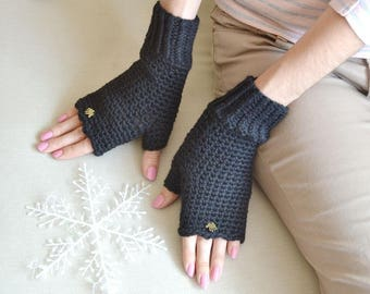 arm warmers fingerless gloves  gift for her birthday knitted gloves mittens black gloves birthday gift for womens accessories alpaca gloves