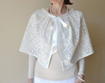 a1d73af04bdd8 Bridal cover up Bridal cape Womens cape Bridal wrap Wedding cape Lace  wedding shawl Winter wedding bolero Bridal capelet Bridal shrug