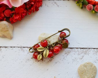 red brooch pin i love you gifts for wife best friend gift mother gift vintage brooch red gift birthday gifts scarf pin handmade jewelry