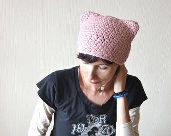 8437ae858c3 Pink pussy hat Cat ear hat Winter hat Pink cat hat Outdoors gifts for  girlfriend Cat lover gift Pussycat hat Women s march